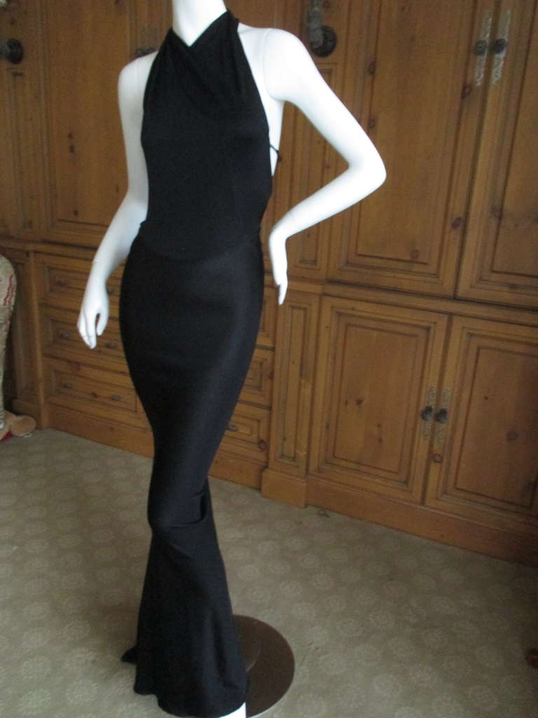 Azzedine Alaia Rare Vintage Black Backless Halter Dress At