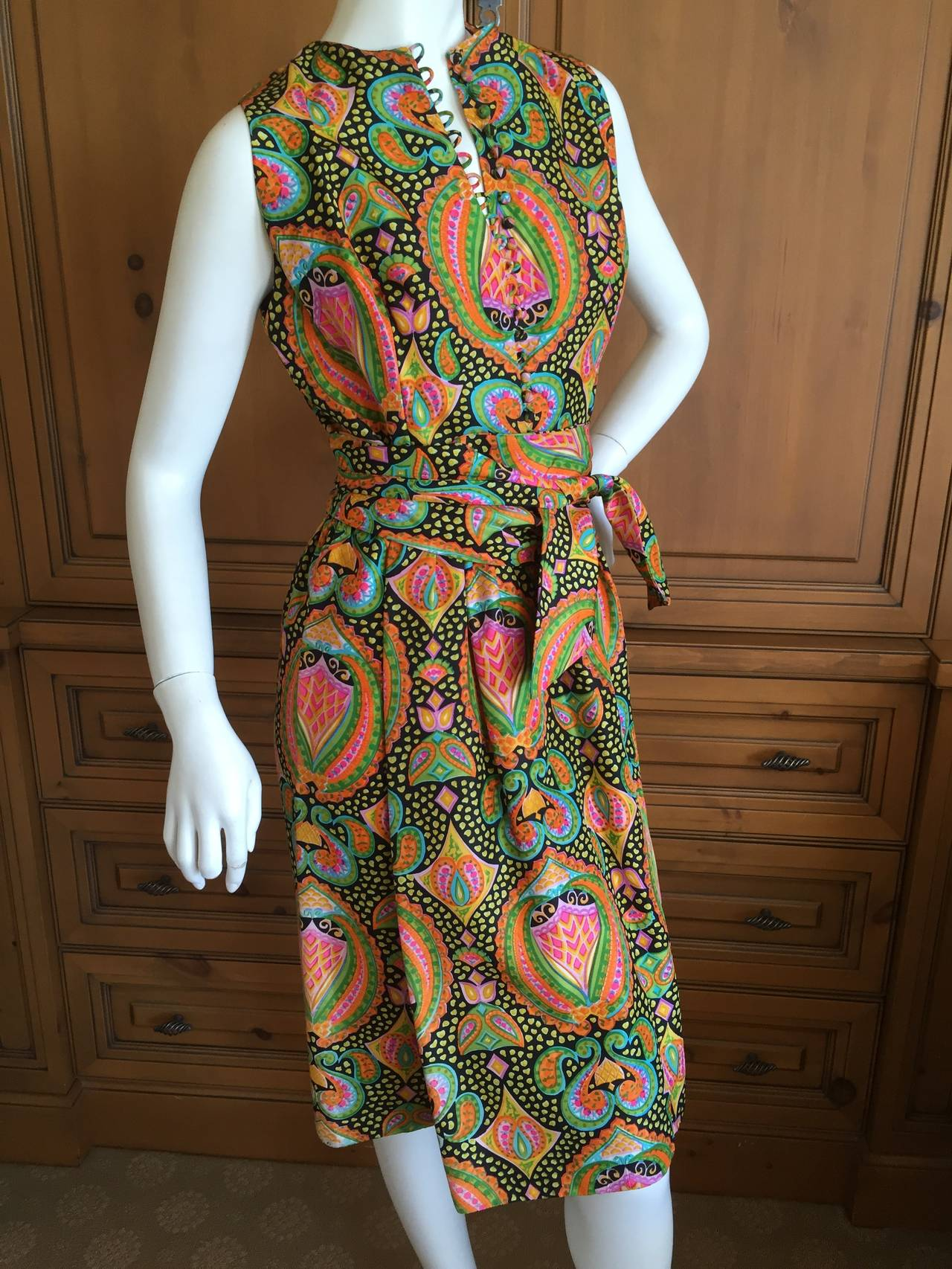 Geoffrey Beene 1970's Sleeveless Silk Dress with Sash 3