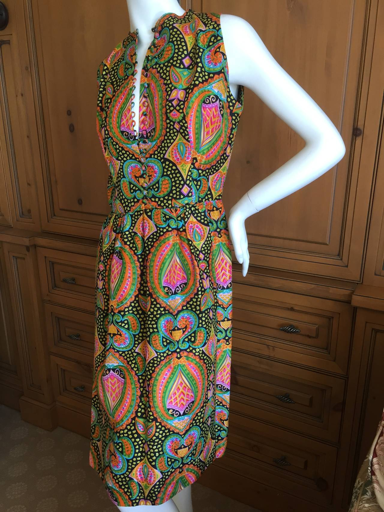 Geoffrey Beene 1970's Sleeveless Silk Dress with Sash 6