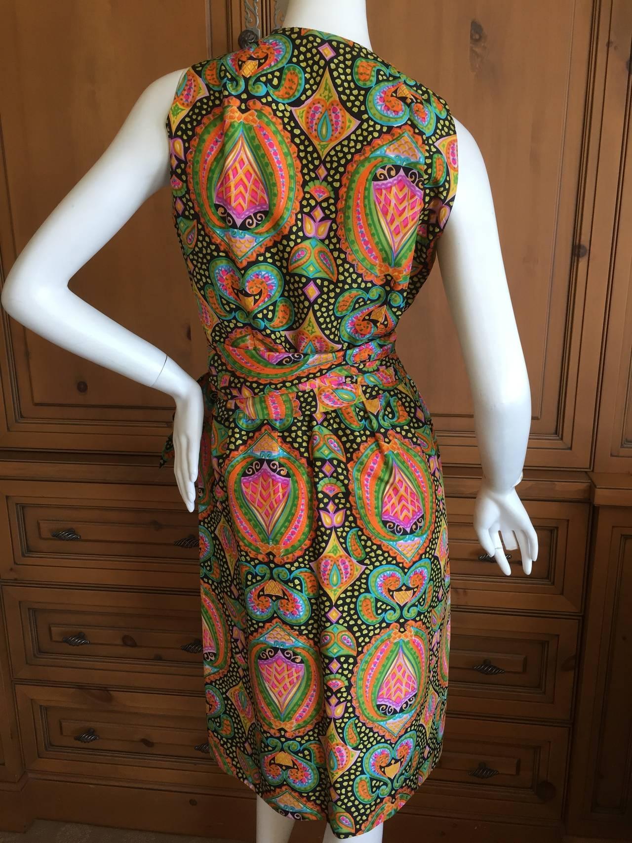 Geoffrey Beene 1970's Sleeveless Silk Dress with Sash 7