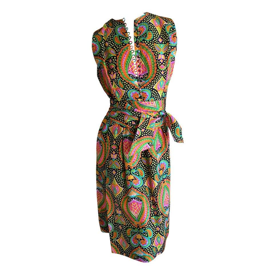 Geoffrey Beene 1970's Sleeveless Silk Dress with Sash 1