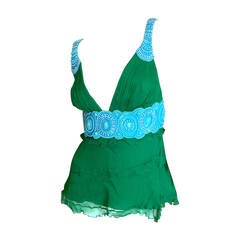 Andrew Gn Paris Green Top with Turquoise Embellishment
