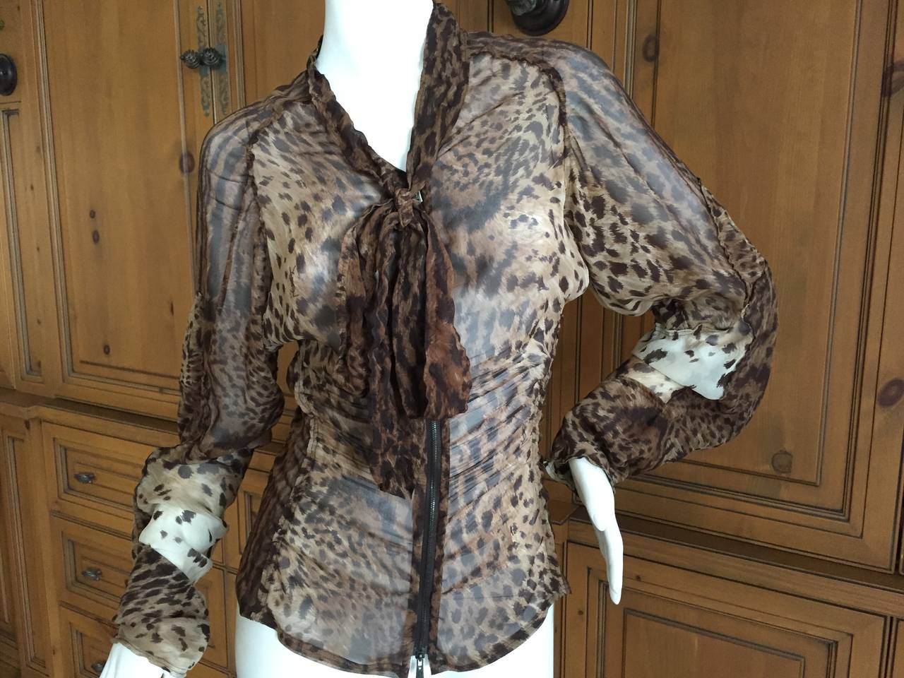 Yves Saint Laurent by Tom Ford Mombassa Collection Sheer Silk Leopard Top 3
