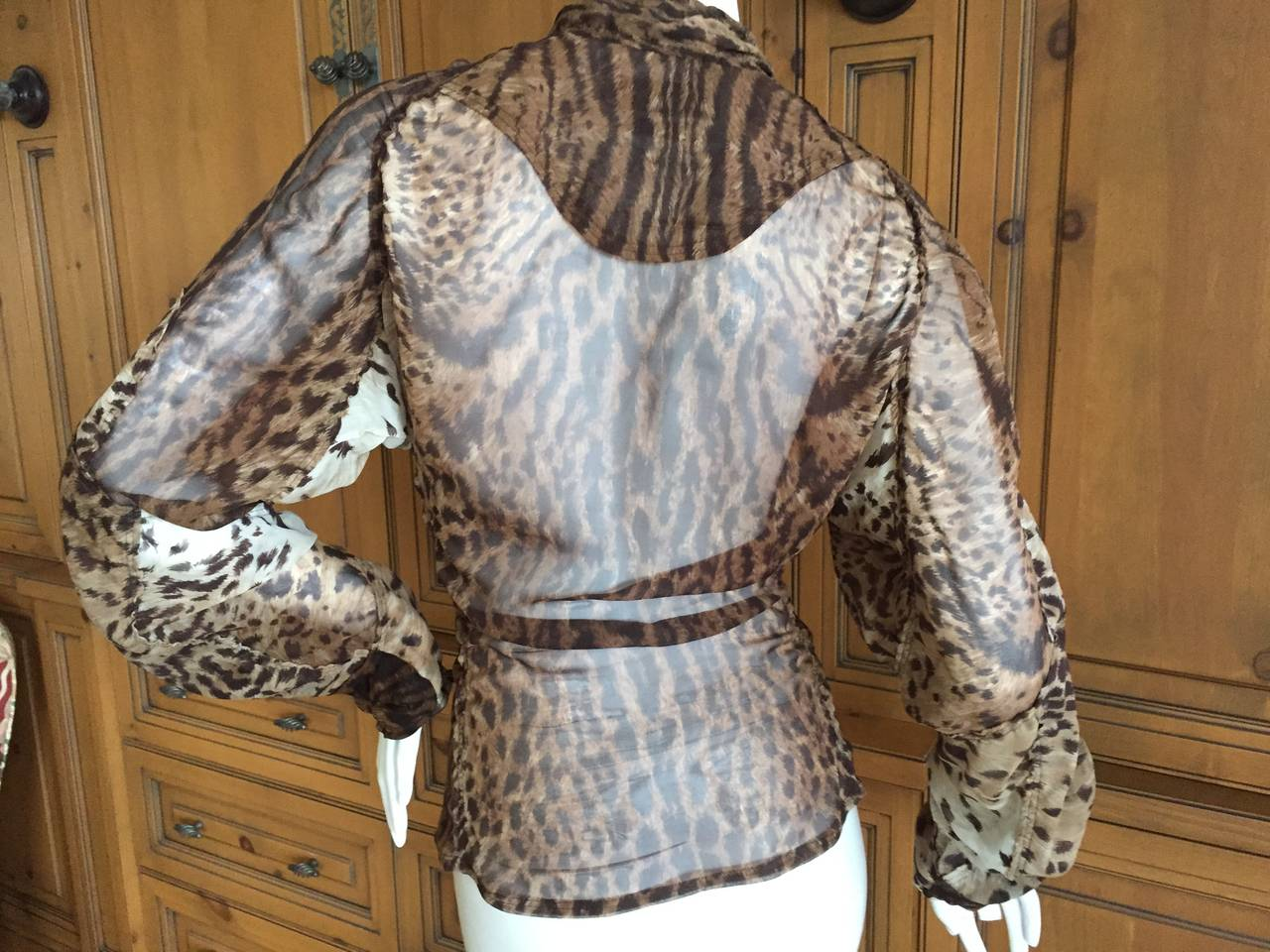 Yves Saint Laurent by Tom Ford Mombassa Collection Sheer Silk Leopard Top 4