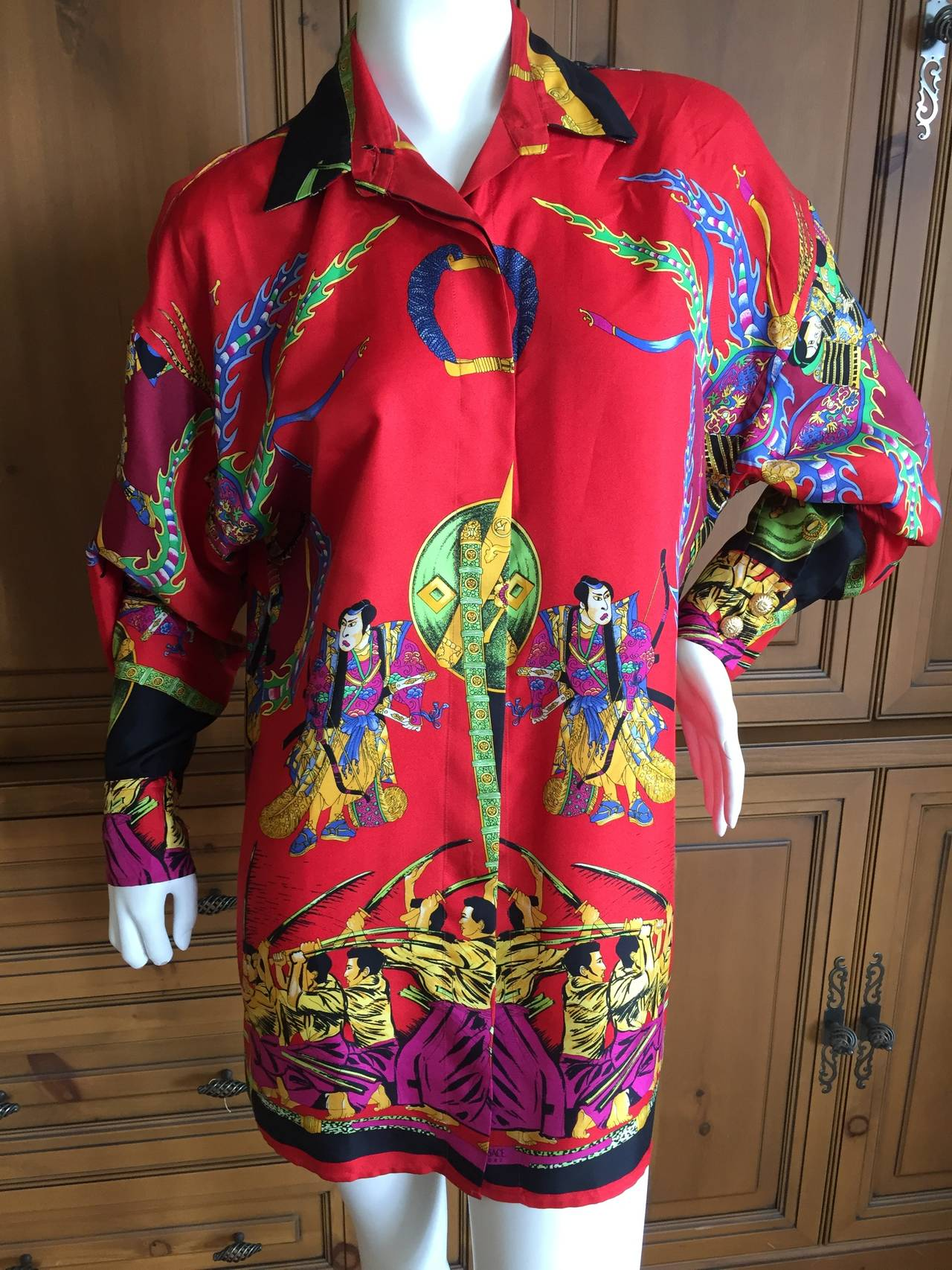 "Vintage Versace Silk ""Samurai"" Blouse 5"