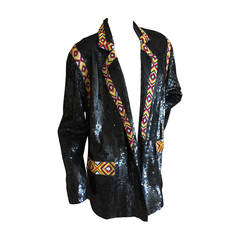 Vintage Indian Bead Trim Sequin Rodeo Jacket