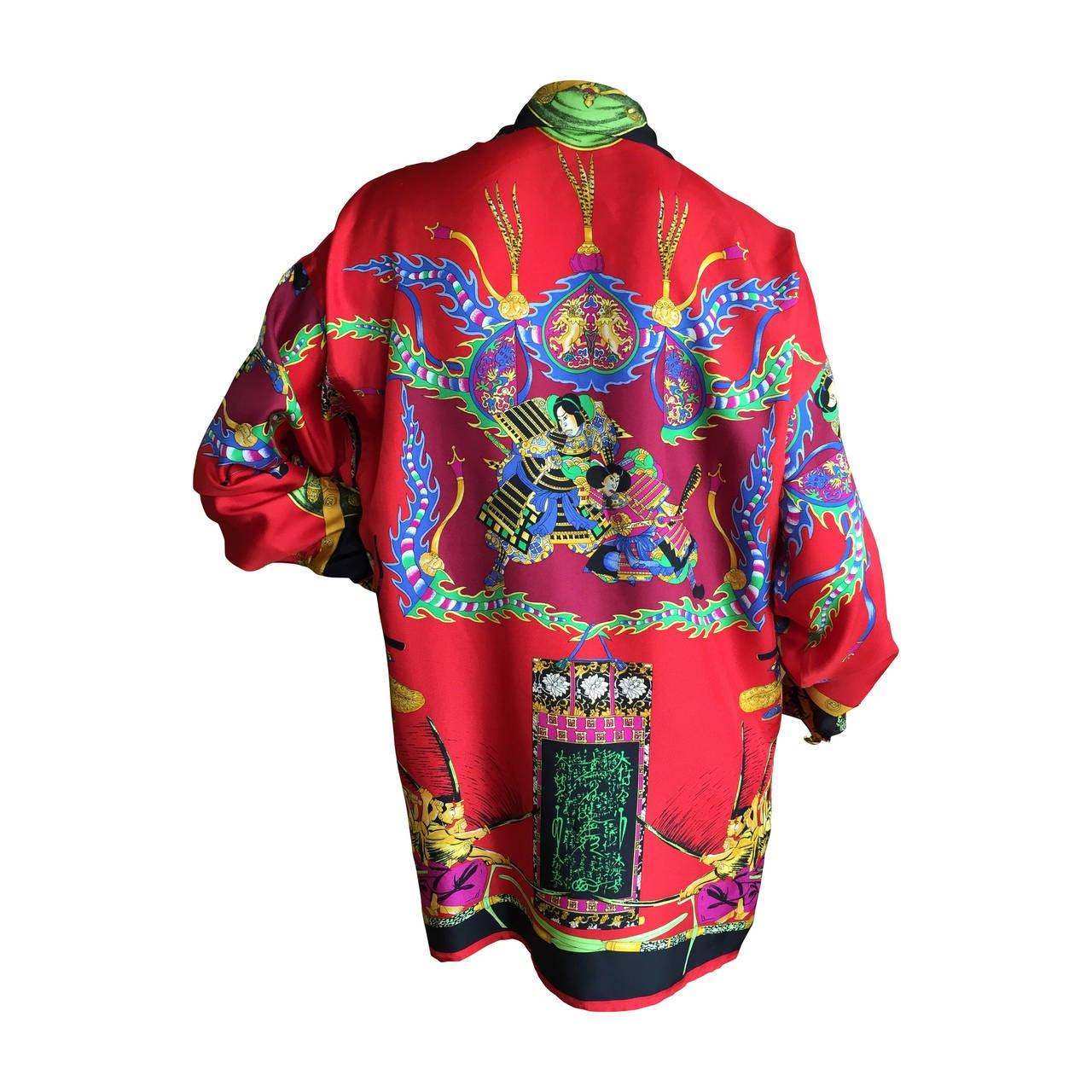 "Vintage Versace Silk ""Samurai"" Blouse 1"