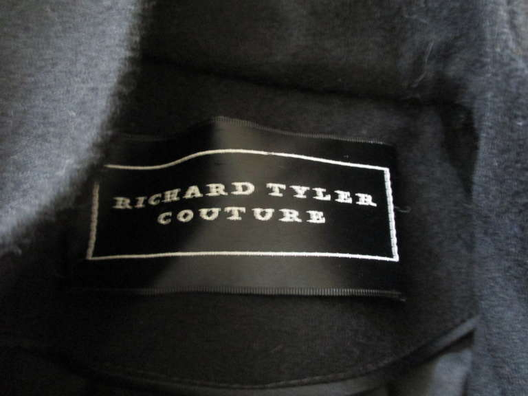 Richard Tyler Couture Floor Length Black Coat with Keyhole 5