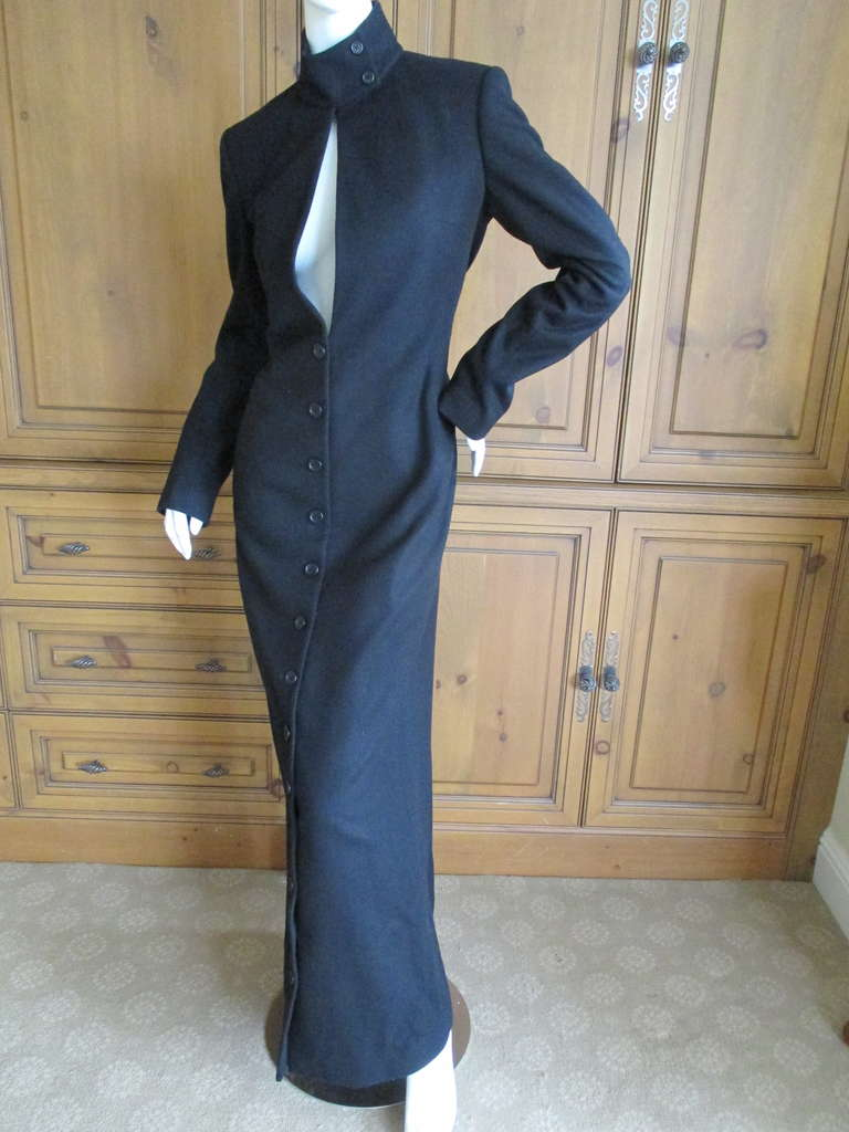 Richard Tyler Couture Floor Length Black Coat with Keyhole 2
