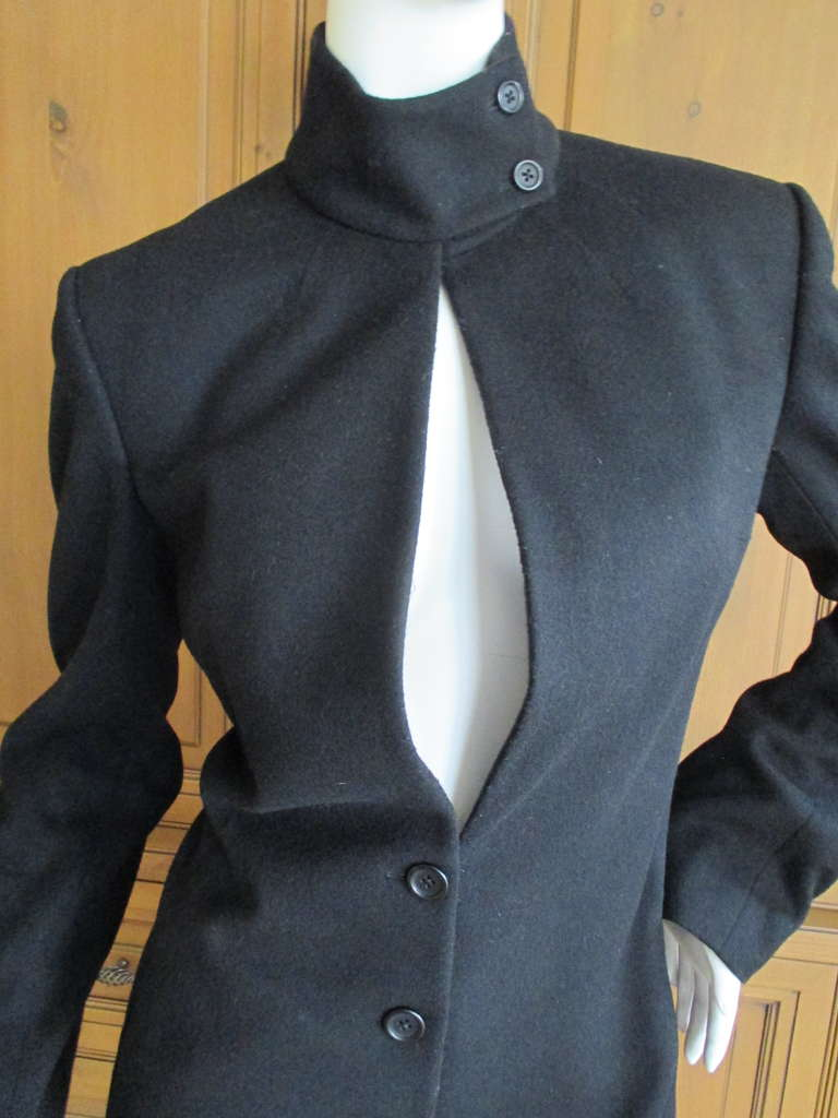 Richard Tyler Couture Floor Length Black Coat with Keyhole 3