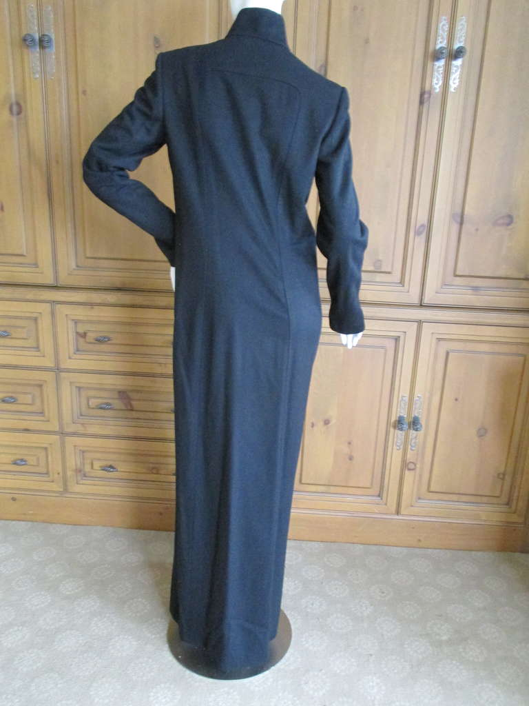 Richard Tyler Couture Floor Length Black Coat with Keyhole 4