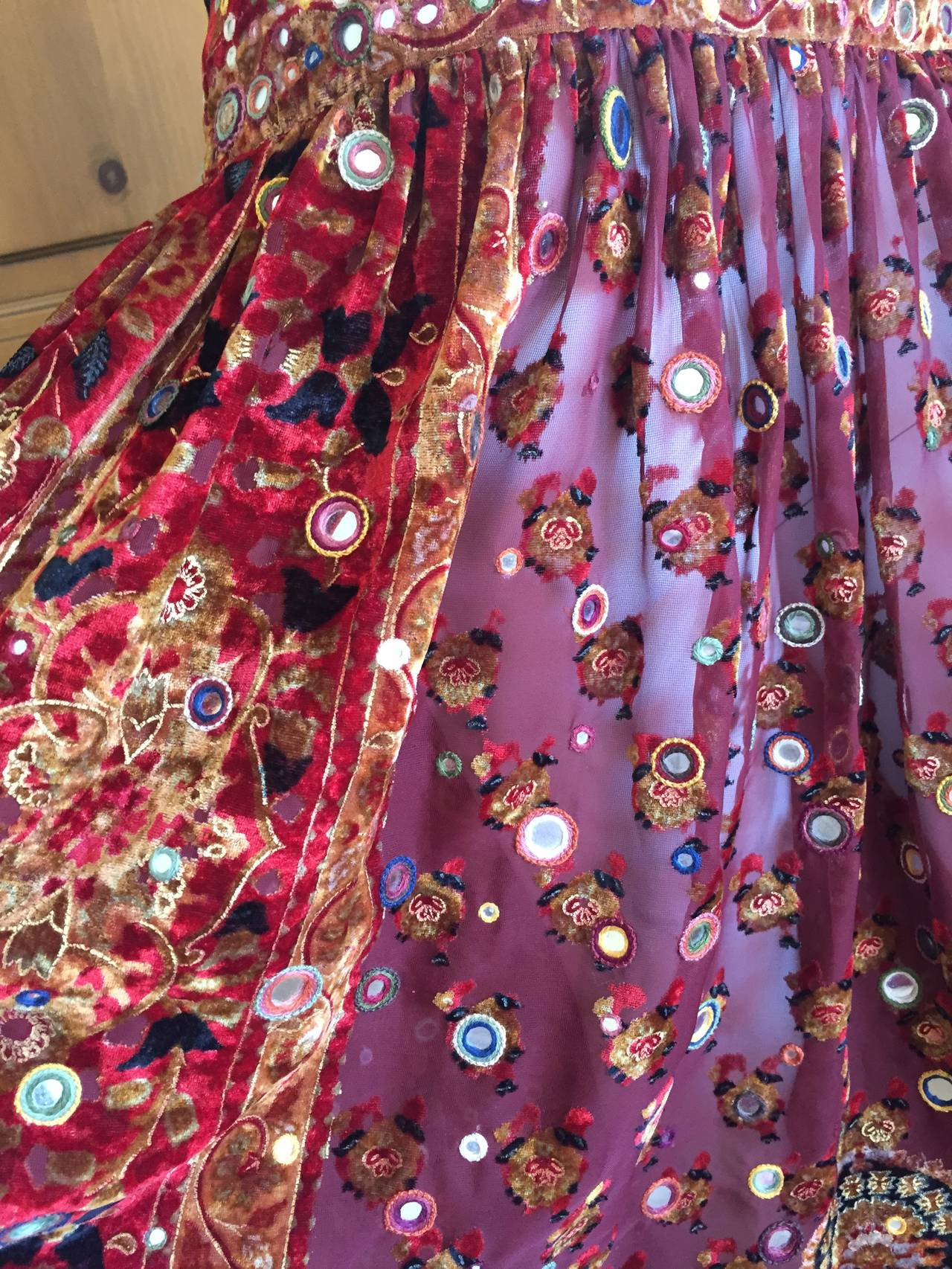 Oscar de la Renta Vintage Boho Gypsy Skirt with Mirrors 3