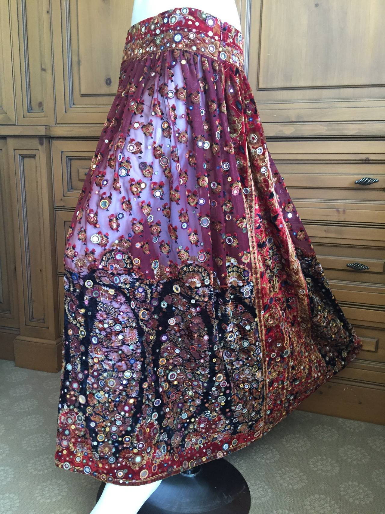 Oscar de la Renta Vintage Boho Gypsy Skirt with Mirrors 5