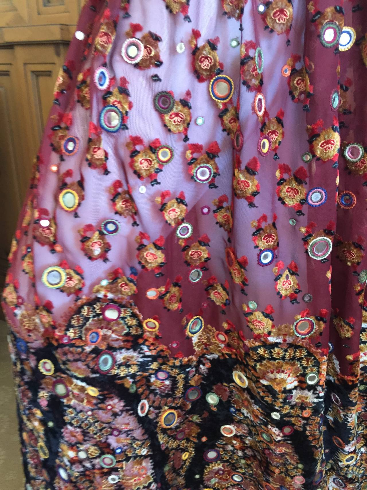 Oscar de la Renta Vintage Boho Gypsy Skirt with Mirrors 6