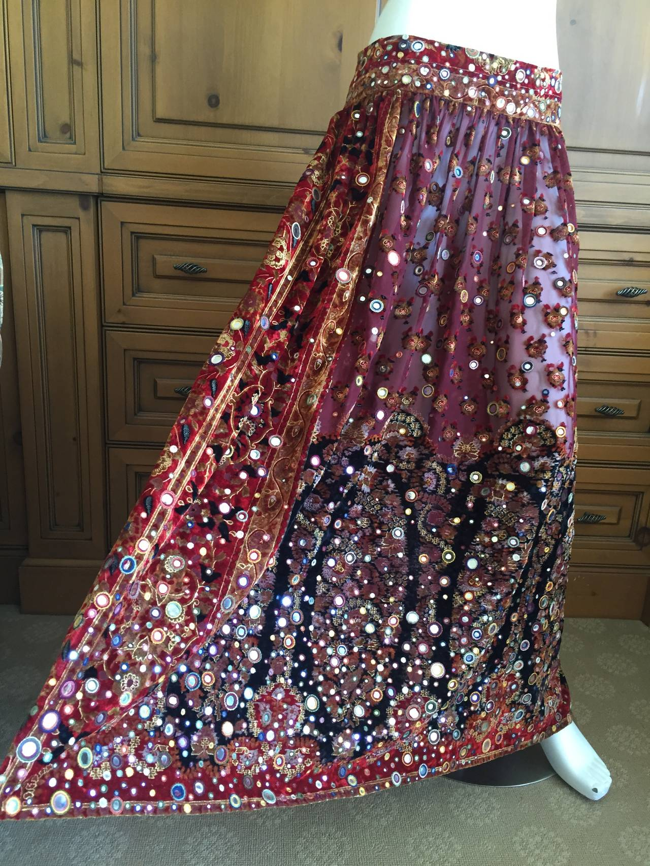 Oscar de la Renta Vintage Boho Gypsy Skirt with Mirrors 7