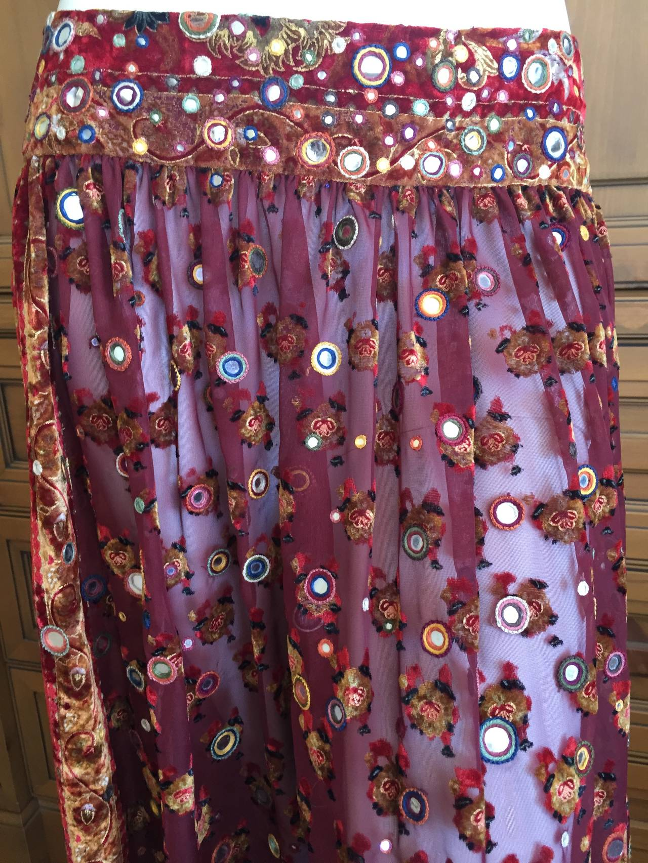 Oscar de la Renta Vintage Boho Gypsy Skirt with Mirrors 8
