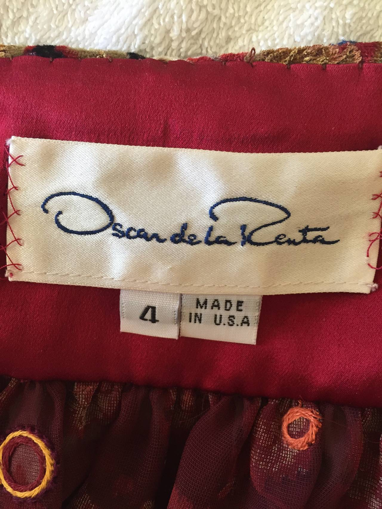 Oscar de la Renta Vintage Boho Gypsy Skirt with Mirrors 9
