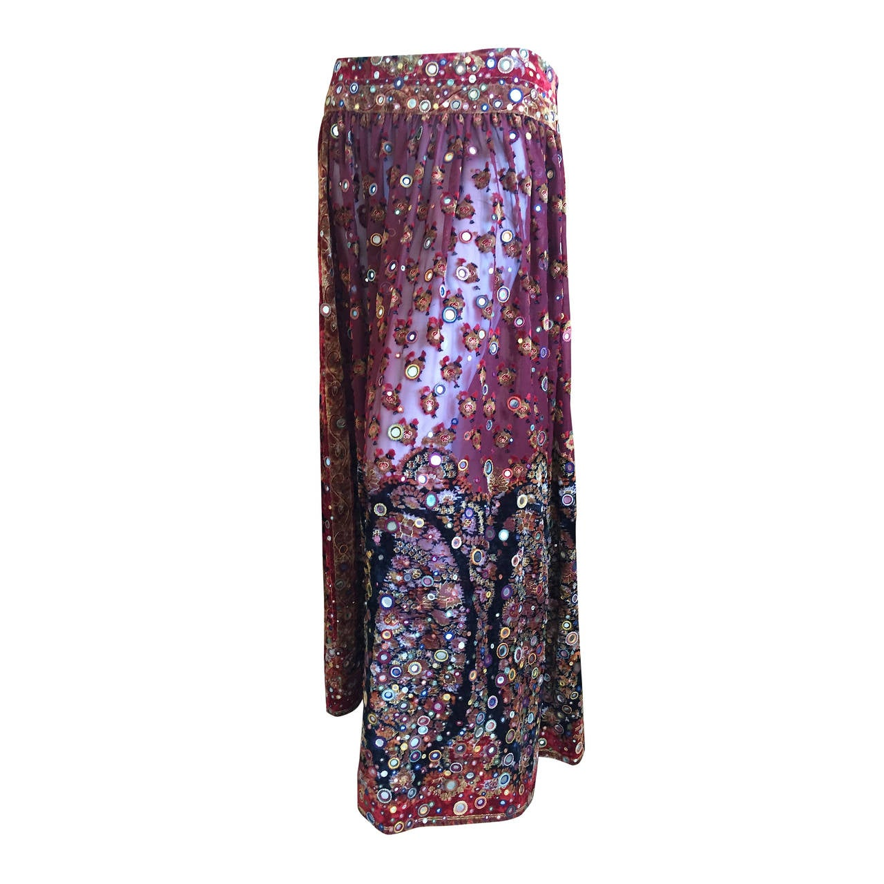 Oscar de la Renta Vintage Boho Gypsy Skirt with Mirrors 1
