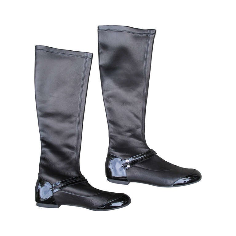 Chanel Ballet Flat Black Stretch Leather Boots w Patent Leather ...