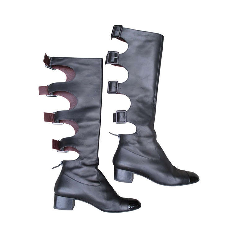 chanel black leather gladiator flat boots at 1stdibs