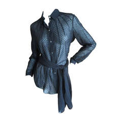 Ralph Rucci Sheer Black Top with Sash / Scarf