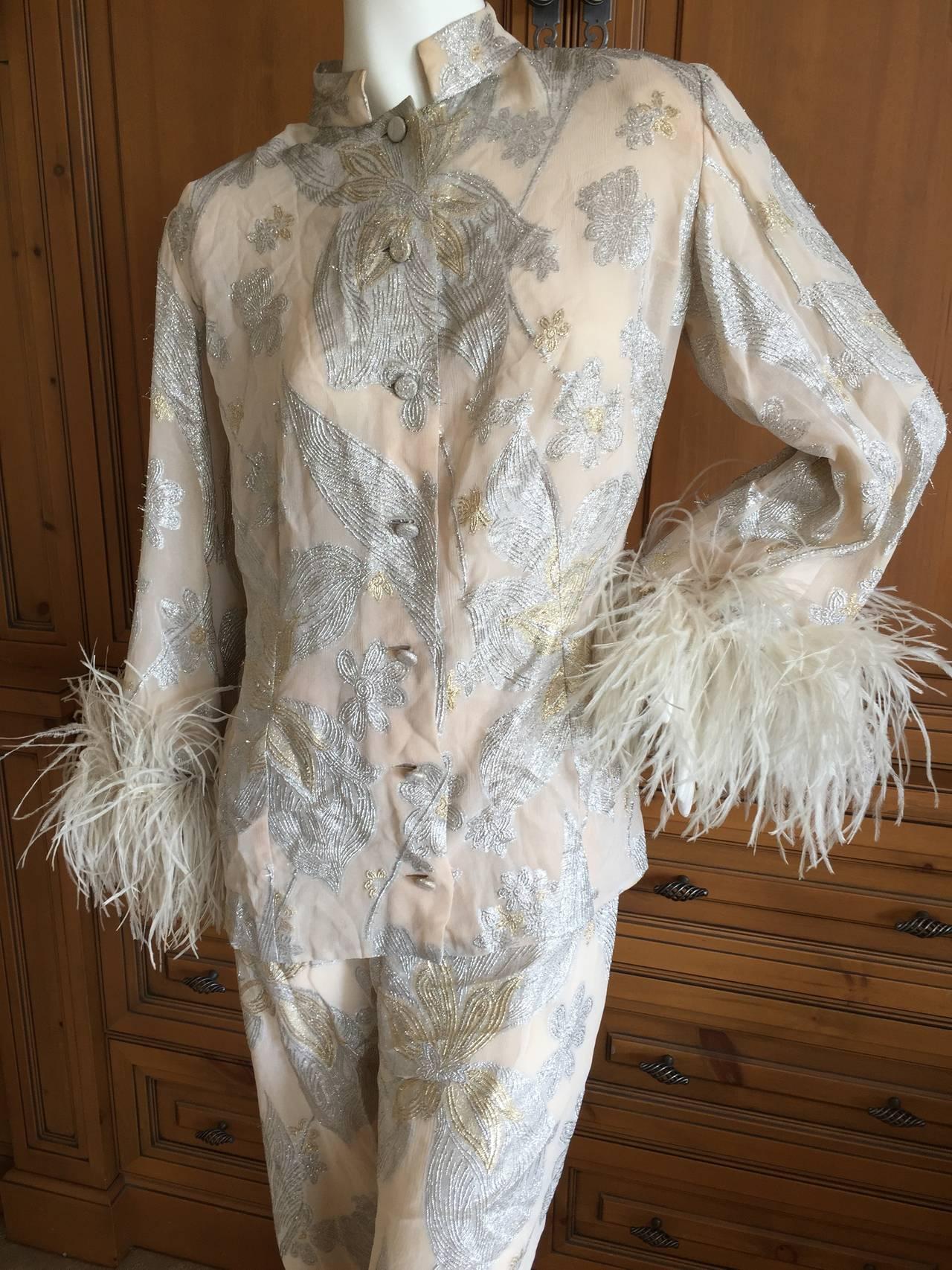 Jean Louis Couture Silver & Gold Silk Evening Pajamas w. Ostrich Cuffs 2