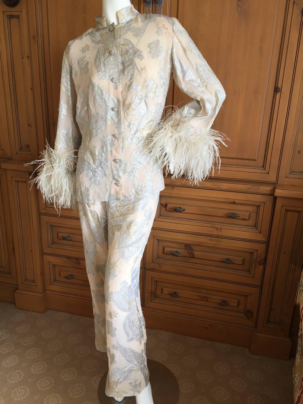 Jean Louis Couture Silver & Gold Silk Evening Pajamas w. Ostrich Cuffs 3