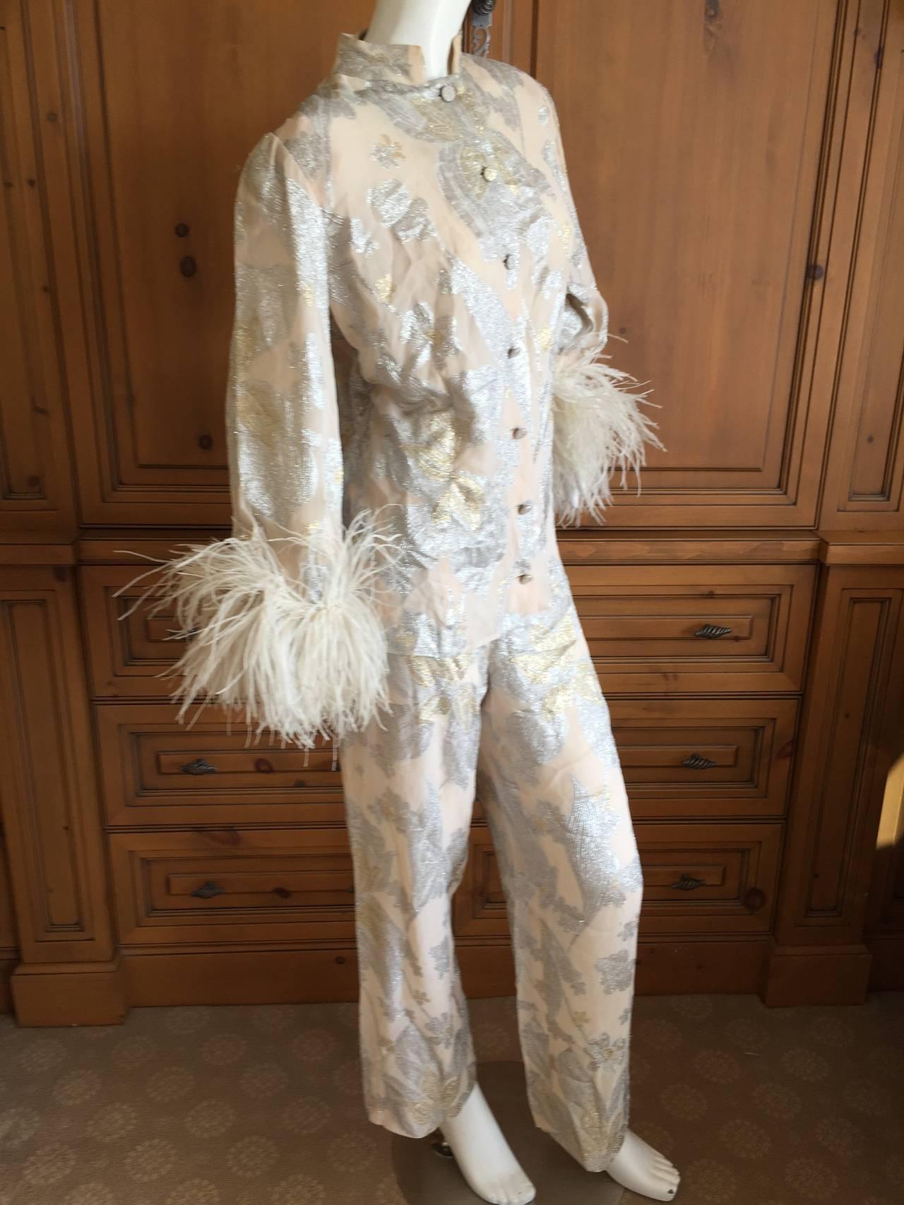 Jean Louis Couture Silver & Gold Silk Evening Pajamas w. Ostrich Cuffs 4
