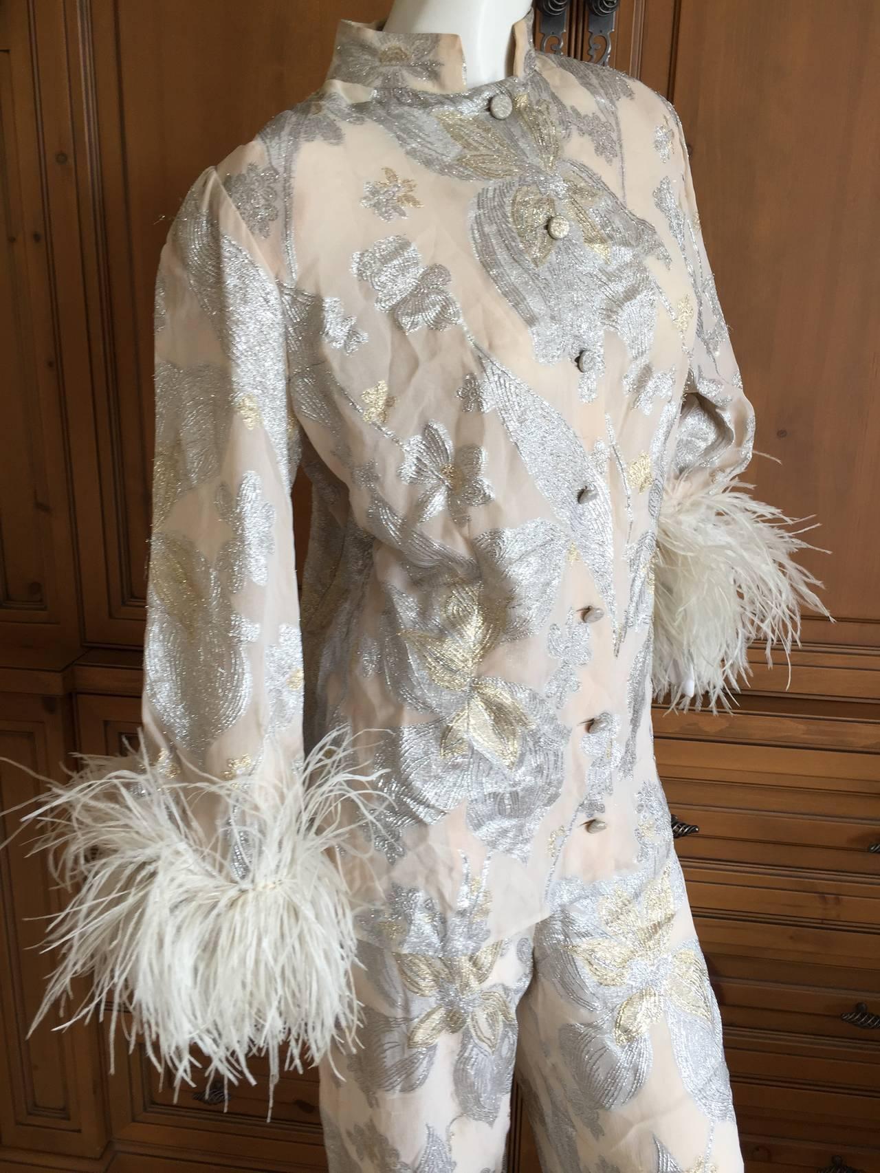 Jean Louis Couture Silver & Gold Silk Evening Pajamas w. Ostrich Cuffs 5