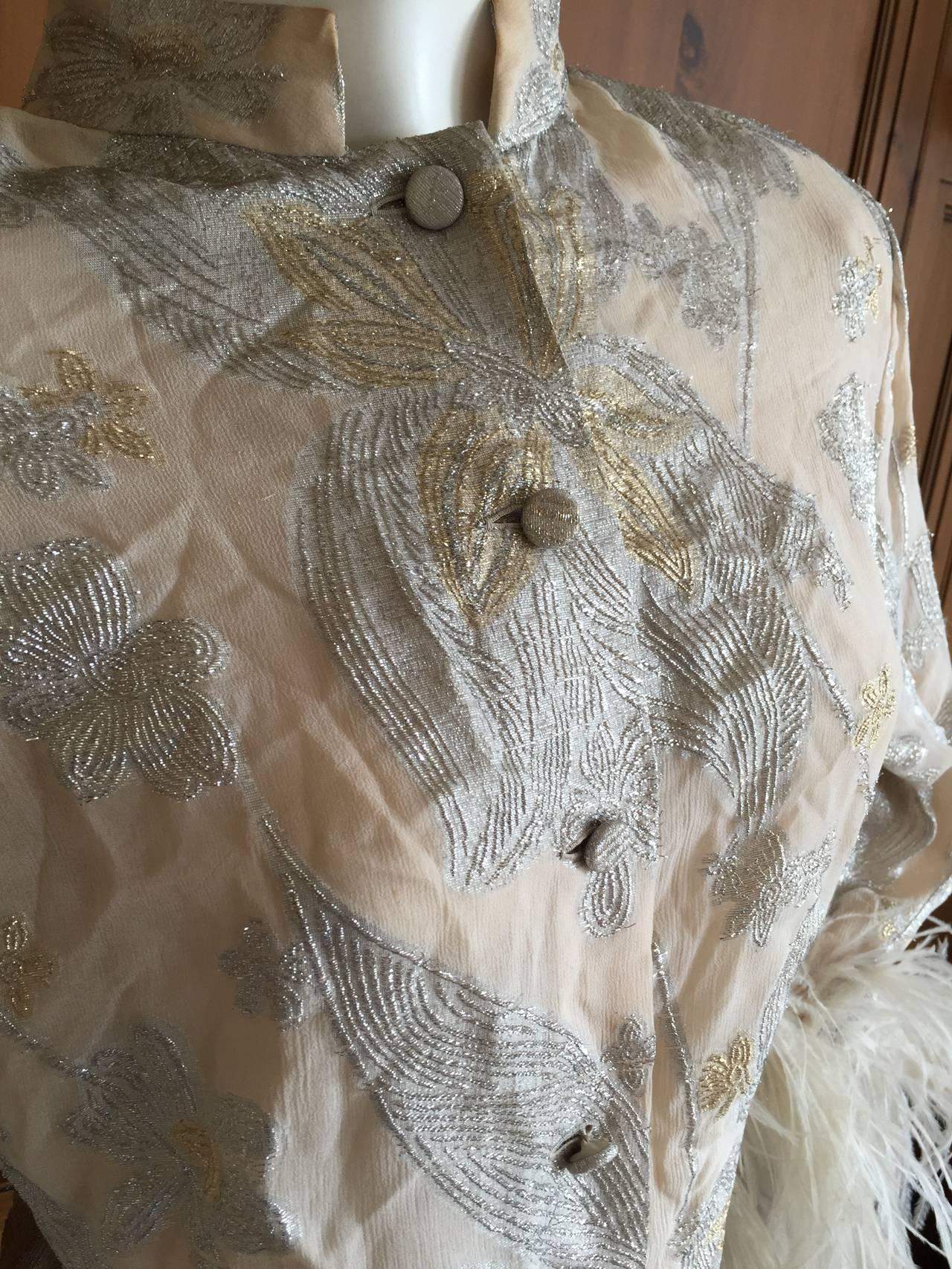Jean Louis Couture Silver & Gold Silk Evening Pajamas w. Ostrich Cuffs 6