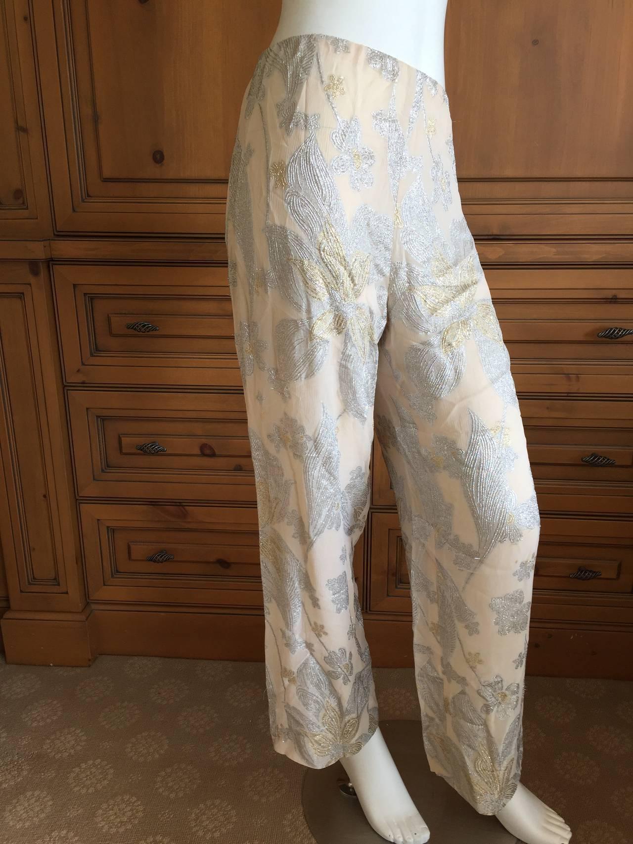 Jean Louis Couture Silver & Gold Silk Evening Pajamas w. Ostrich Cuffs 7