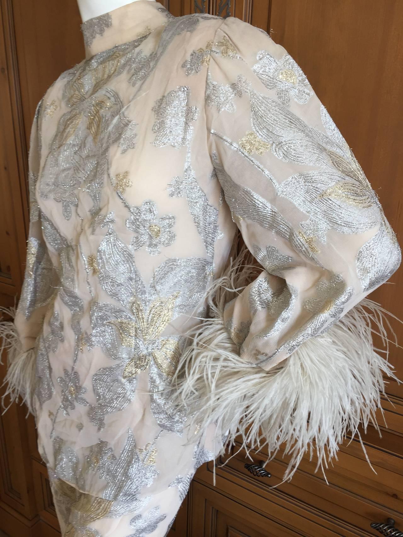 Jean Louis Couture Silver & Gold Silk Evening Pajamas w. Ostrich Cuffs 9