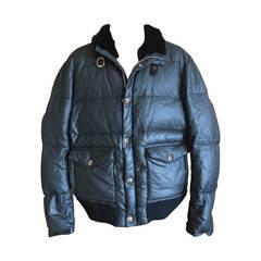 Chrome Hearts Men's Gray Goose Down Puffer Jacket w Chinchilla Rex Collar