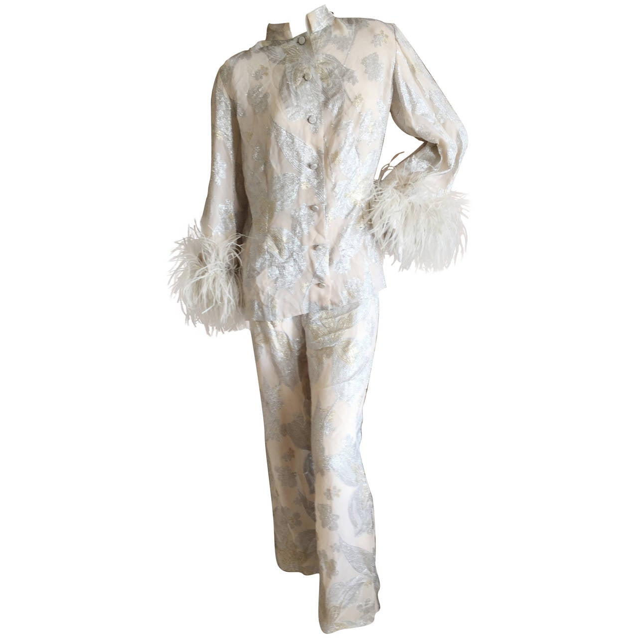 Jean Louis Couture Silver & Gold Silk Evening Pajamas w. Ostrich Cuffs 1