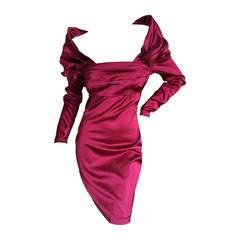 Sophie Sitbon Paris Red Satin Cocktail Dress