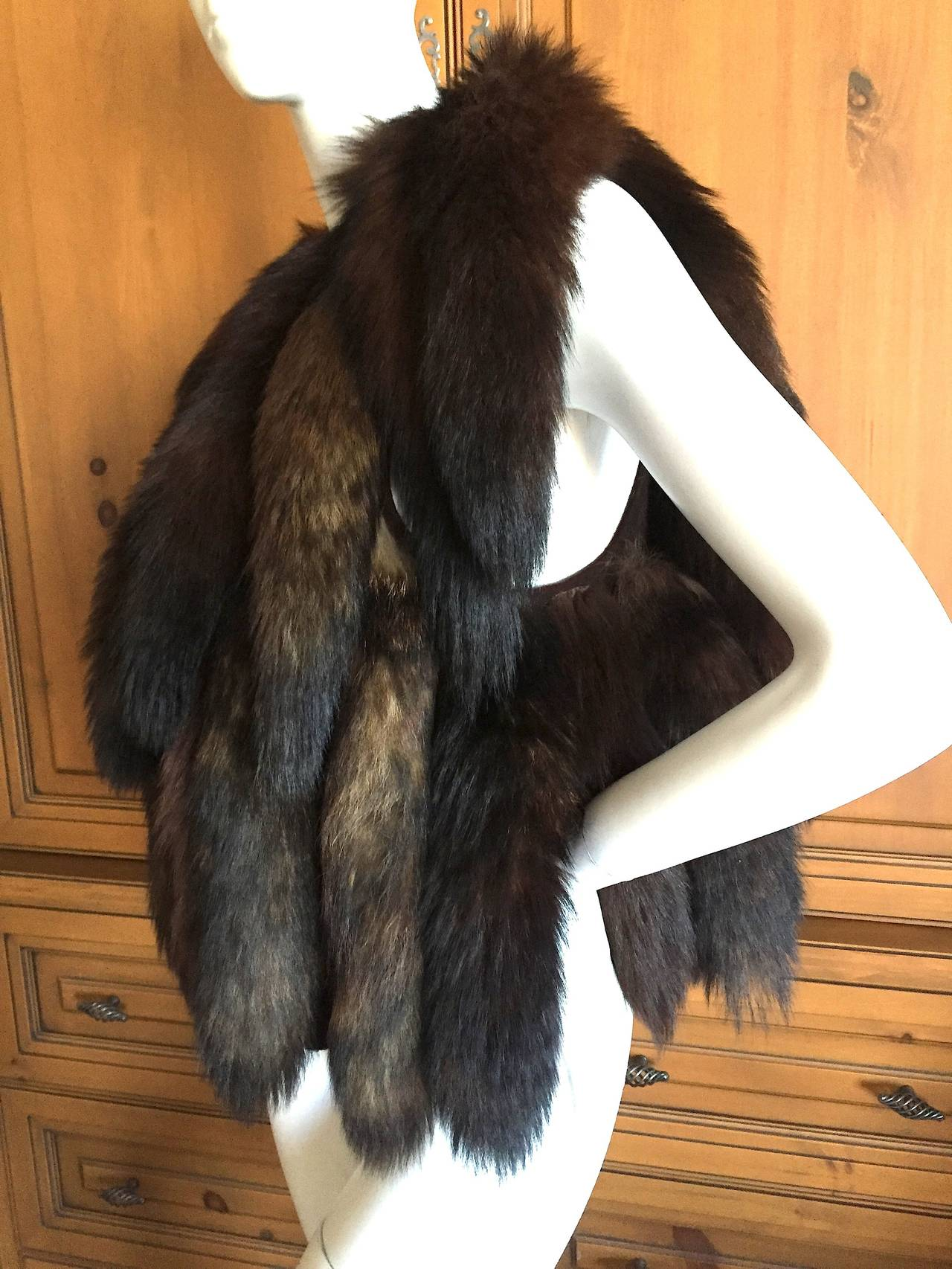 Black Giorgio Bevery HIlls Boho Fox Tail Boho Vest For Sale