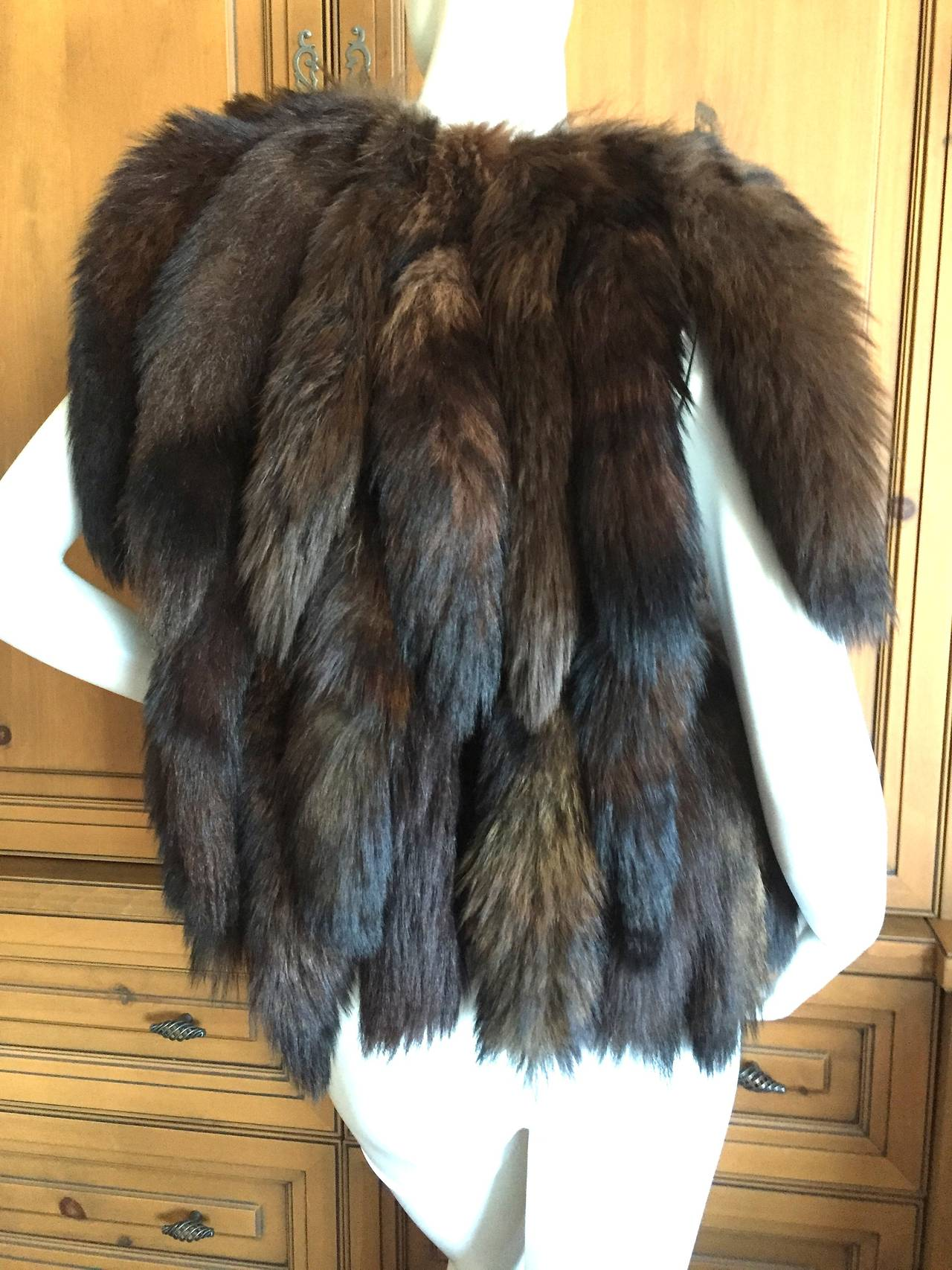 Giorgio Bevery HIlls Boho Fox Tail Boho Vest In Good Condition For Sale In San Francisco, CA