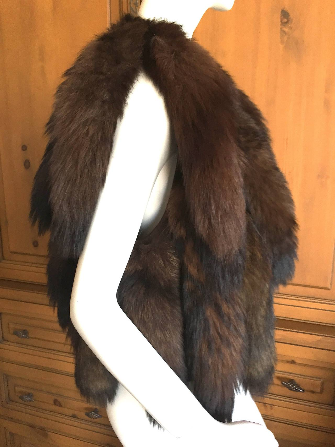 Women's or Men's Giorgio Bevery HIlls Boho Fox Tail Boho Vest For Sale