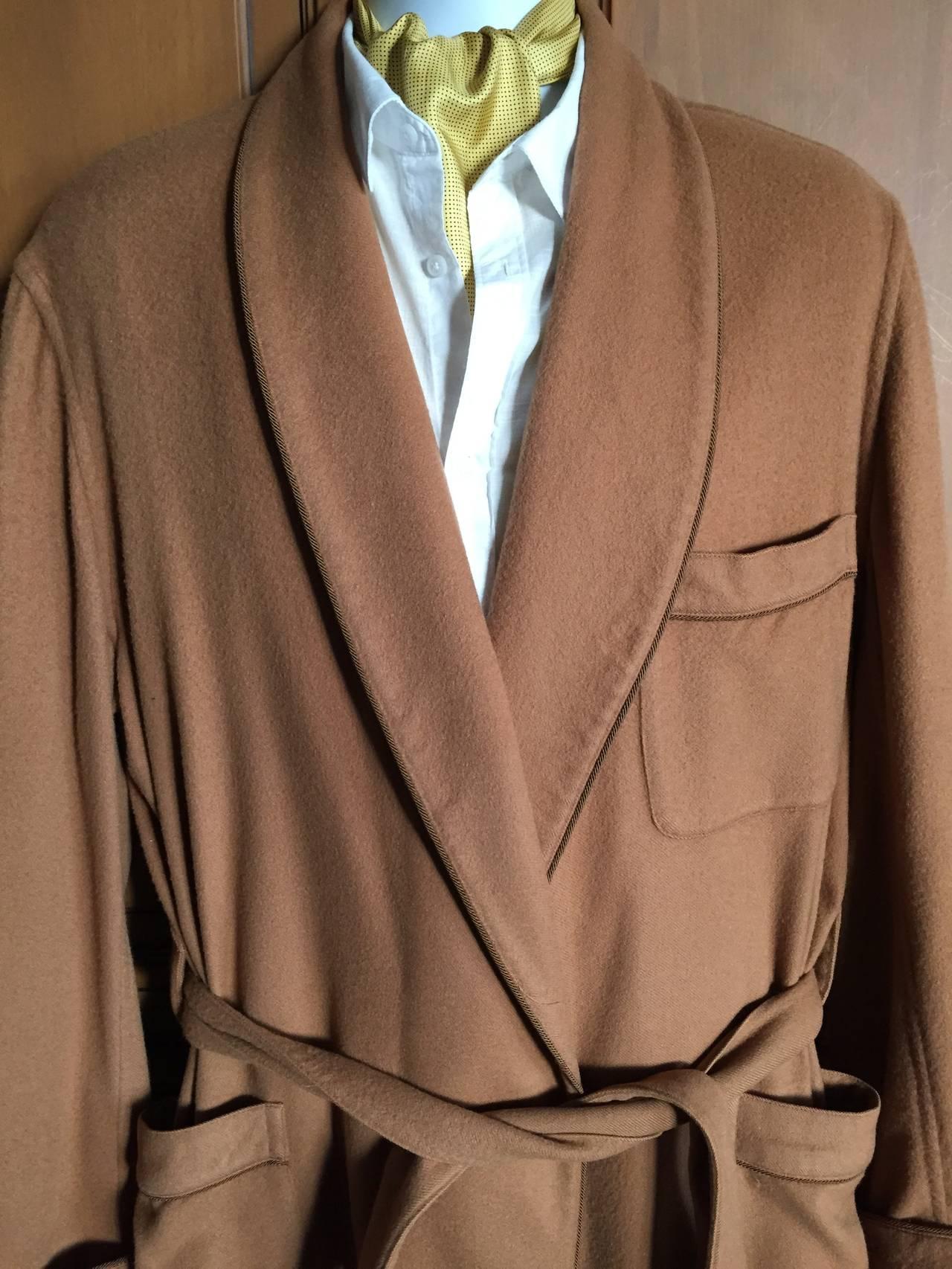 Loro Piana Pure Cashmere Mens Short Robe Smoking Jacket