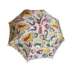 Moschino 1991 Lichtenstein Inspired Umbrella with Heart Handle
