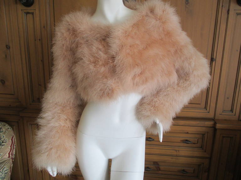 Gucci  Tom Ford 2004 Blush Pink Feather Jacket  New 5