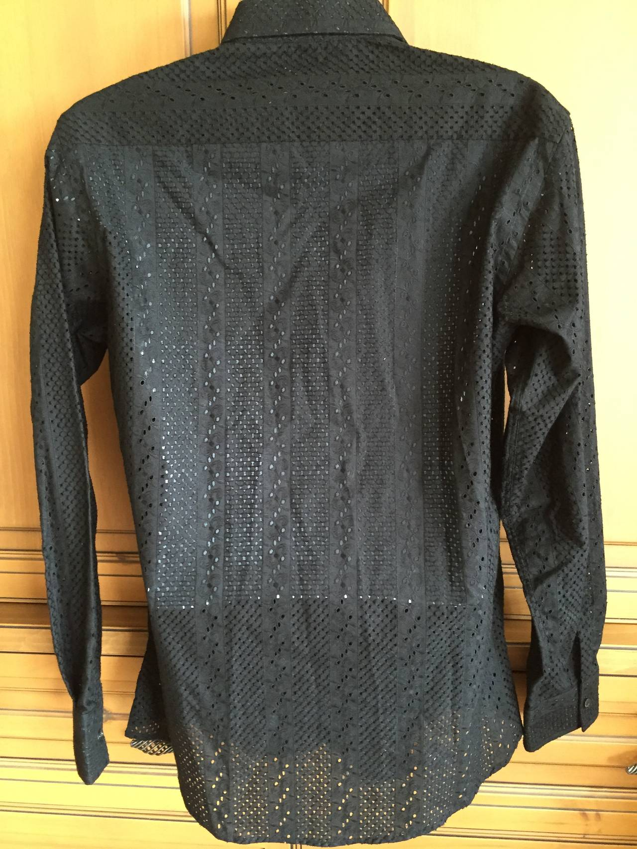 Gianni versace 1990 mens black cotton eyelet lace shirt at for Versace style shirt mens