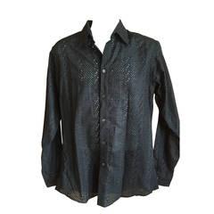 Gianni Versace 1990 Mens Black Cotton Eyelet Lace Shirt