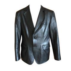 Chado Ralph Rucci Black Leather Mens Jacket
