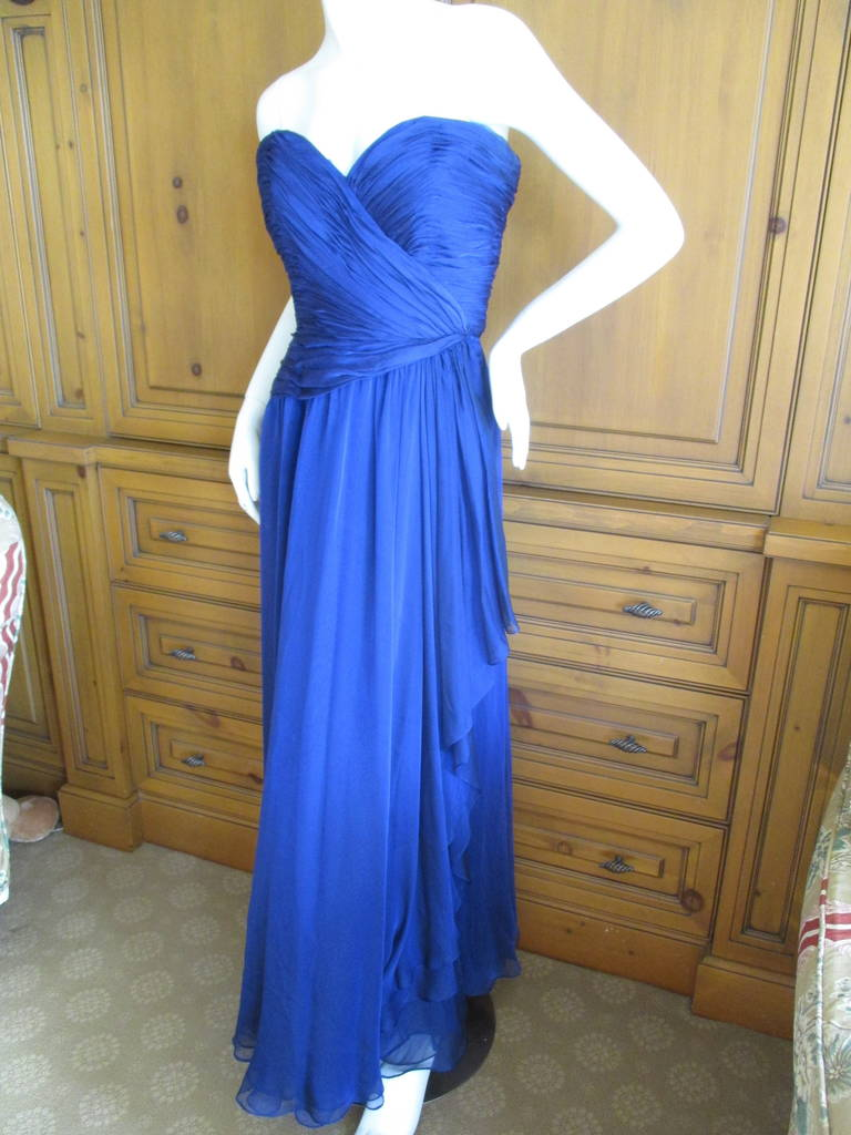 Oscar de la Renta Vintage Strapless Gown with Wrap 2