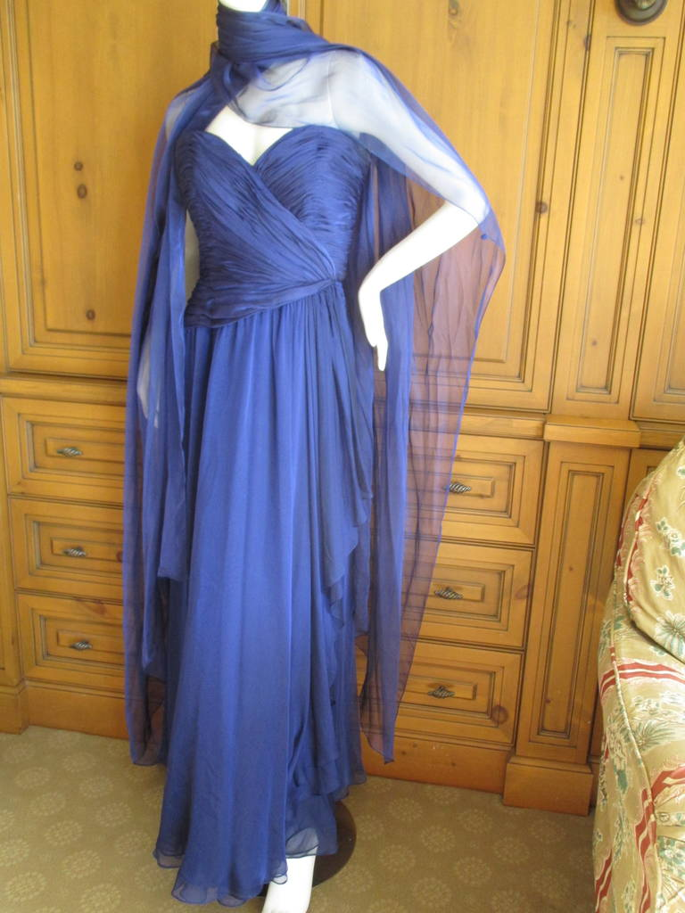 Oscar de la Renta Vintage Strapless Gown with Wrap 7