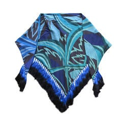 Pucci Silk Shawl with Ombre Fringe