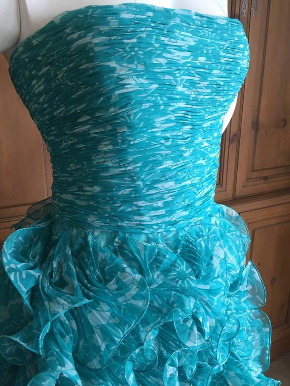 Oscar de la Renta Turquoise Vintage Ruffled Evening Gown In Excellent Condition For Sale In San Francisco, CA