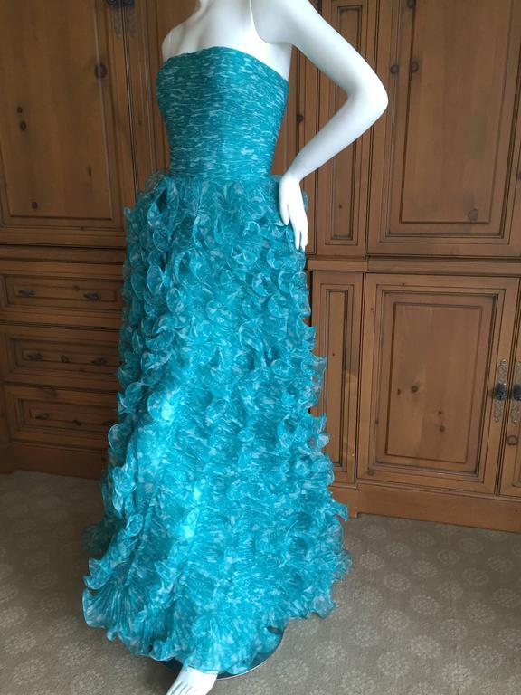 Oscar de la Renta Turquoise Vintage Ruffled Evening Gown For Sale 1