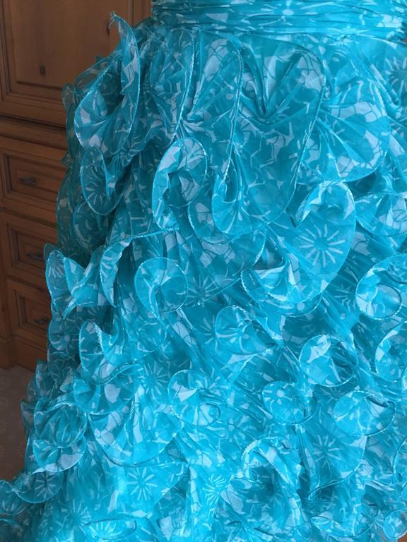 Women's Oscar de la Renta Turquoise Vintage Ruffled Evening Gown For Sale
